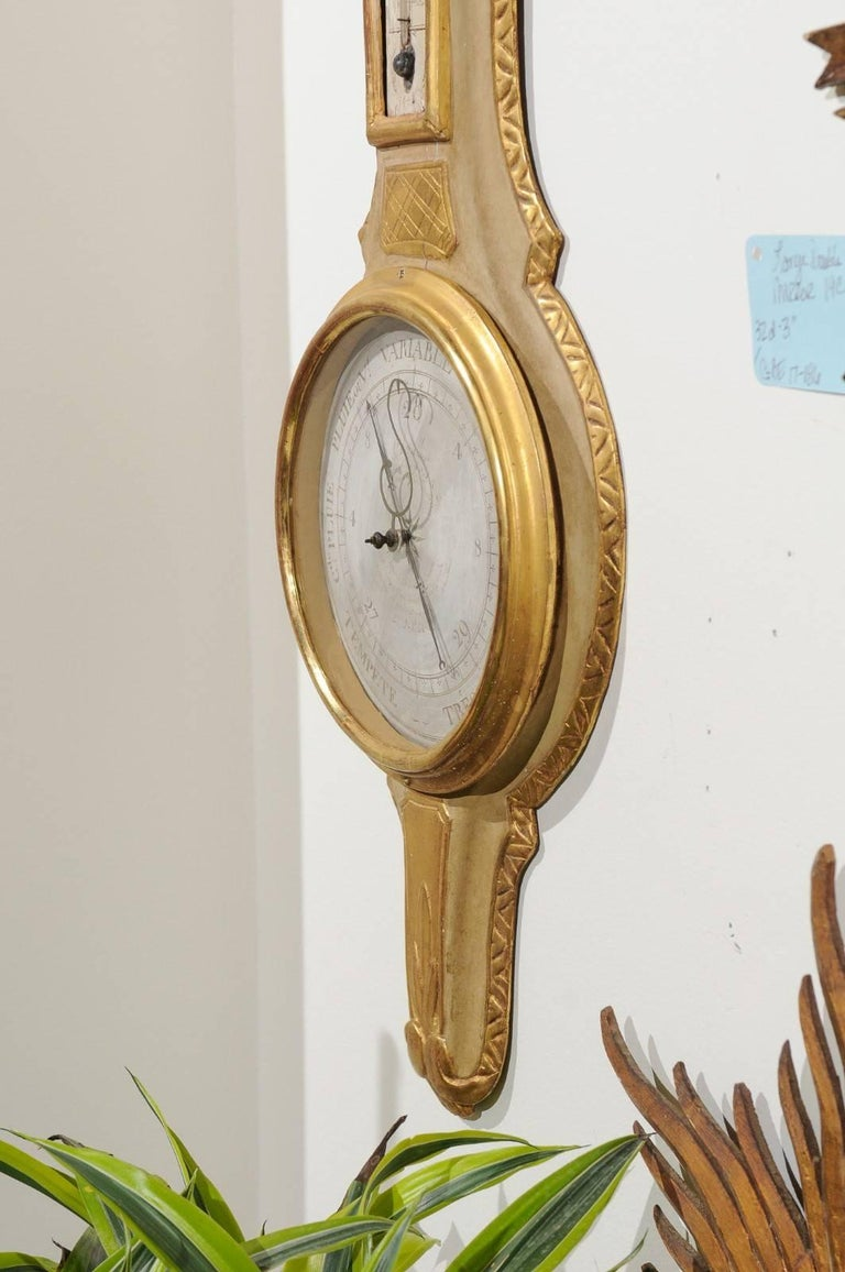 French 19th Century Gilt and Painted Wood Barometer with Urn Carved Crest For Sale 6
