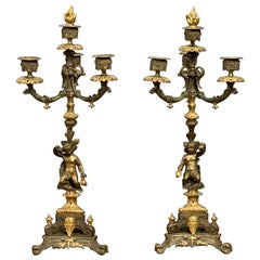 French 19th Century Gilt Bronze 3 Branch Candelabras with Candle Snuffers, Pair