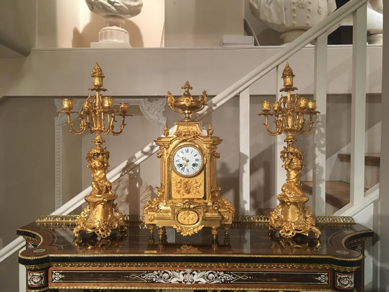 French 19th Century Gilt Bronze Mantel Clock and Candelabra In Excellent Condition For Sale In London, GB