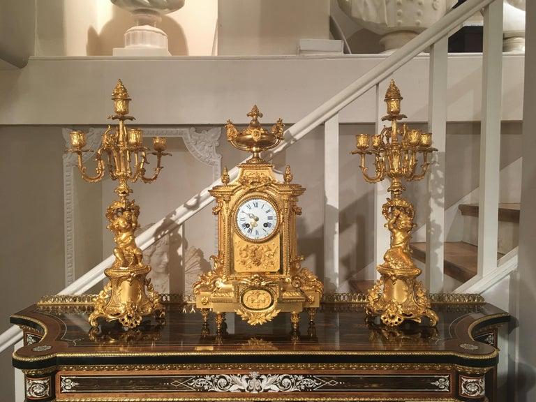 Ormolu French 19th Century Gilt Bronze Mantel Clock and Candelabra For Sale