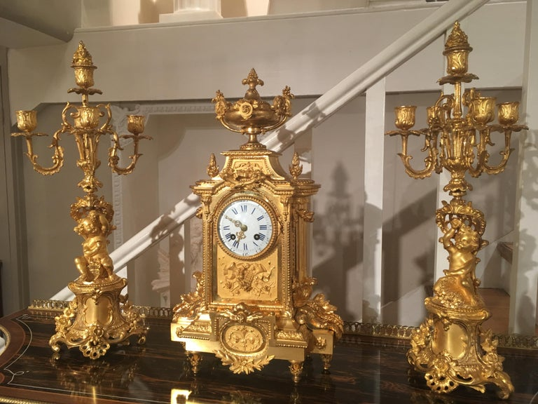 French 19th Century Gilt Bronze Mantel Clock and Candelabra For Sale 1