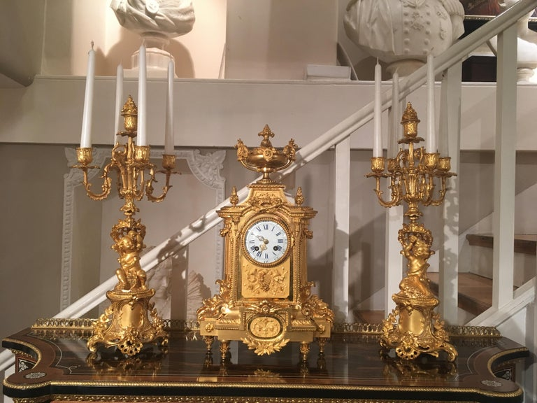 French 19th Century Gilt Bronze Mantel Clock and Candelabra For Sale 2