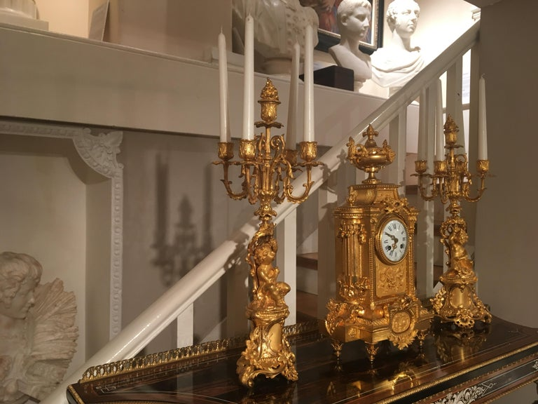 French 19th Century Gilt Bronze Mantel Clock and Candelabra For Sale 3