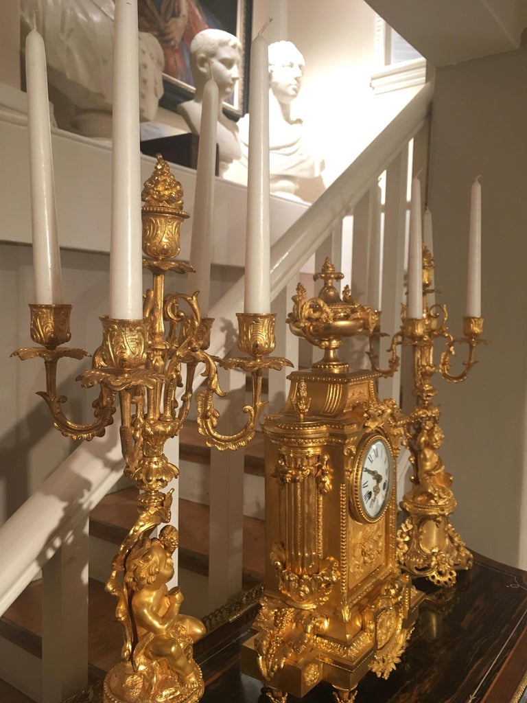 French 19th Century Gilt Bronze Mantel Clock and Candelabra For Sale 4