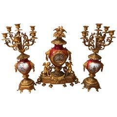 French 19th Century Gilt Bronze & painted Porcelain Figural Garniture Clock Set