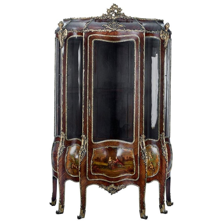 French 19th Century Gilt Bronze Vernis Martin Vitrine Cabinet For Sale