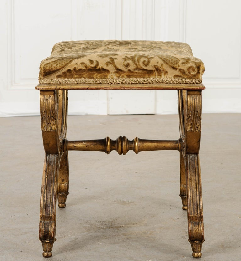 Velvet French 19th Century Gilt Empire-Style Bench For Sale