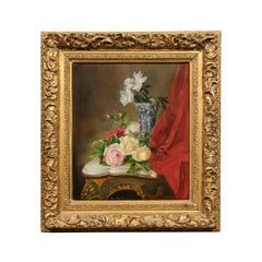 French 19th Century Gilt Frame Oil Painting Depicting Flowers on a Rococo Table