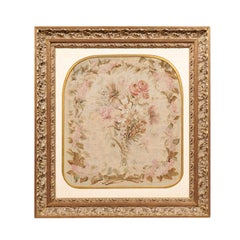 French 19th Century Gilt Framed Silk Aubusson Tapestry with Floral Decor