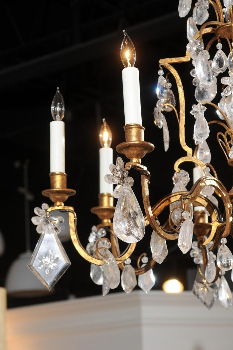 French 19th Century Gilt Iron Eight-Arm Chandelier with Madagascar Rock Crystals For Sale 7
