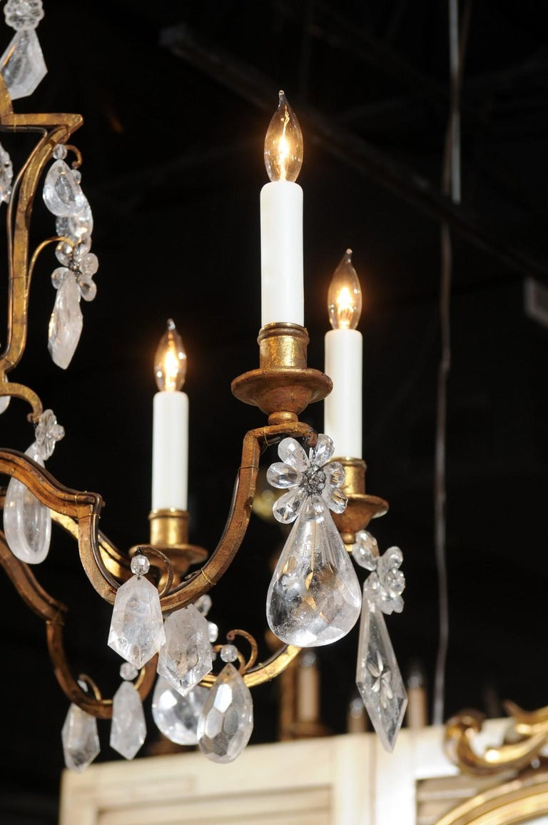 French 19th Century Gilt Iron Eight-Arm Chandelier with Madagascar Rock Crystals For Sale 8