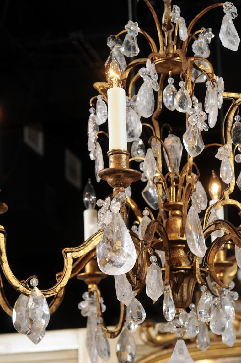 French 19th Century Gilt Iron Eight-Arm Chandelier with Madagascar Rock Crystals In Good Condition For Sale In Atlanta, GA