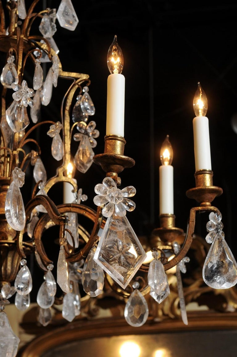 French 19th Century Gilt Iron Eight-Arm Chandelier with Madagascar Rock Crystals For Sale 1