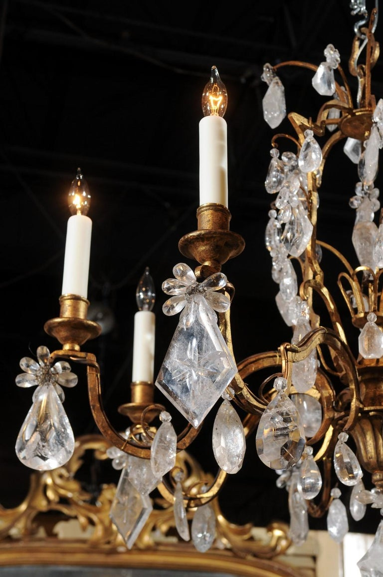 French 19th Century Gilt Iron Eight-Arm Chandelier with Madagascar Rock Crystals For Sale 2