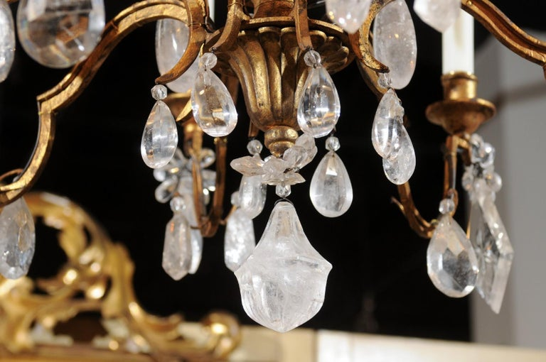 French 19th Century Gilt Iron Eight-Arm Chandelier with Madagascar Rock Crystals For Sale 3