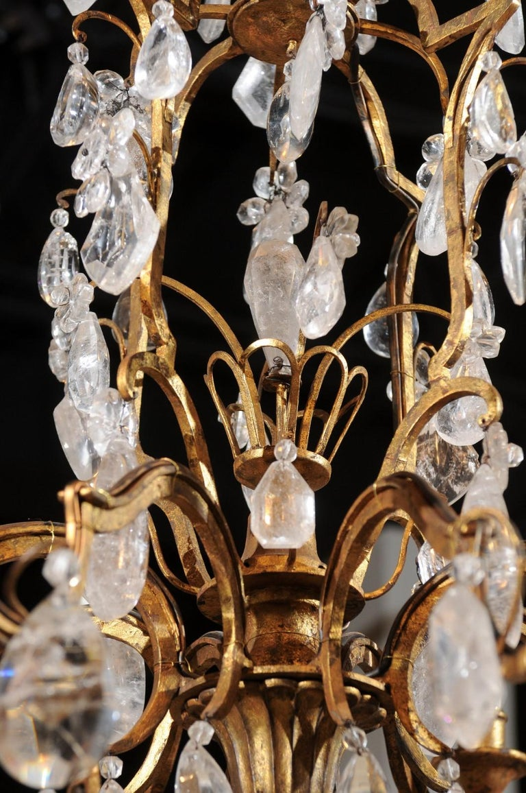 French 19th Century Gilt Iron Eight-Arm Chandelier with Madagascar Rock Crystals For Sale 4