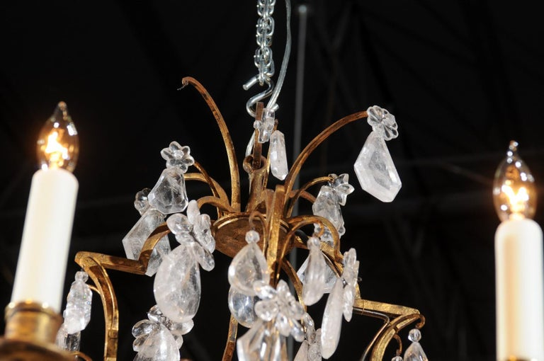 French 19th Century Gilt Iron Eight-Arm Chandelier with Madagascar Rock Crystals For Sale 6