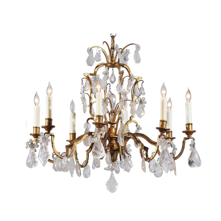 French 19th Century Gilt Iron Eight-Arm Chandelier with Madagascar Rock Crystals For Sale