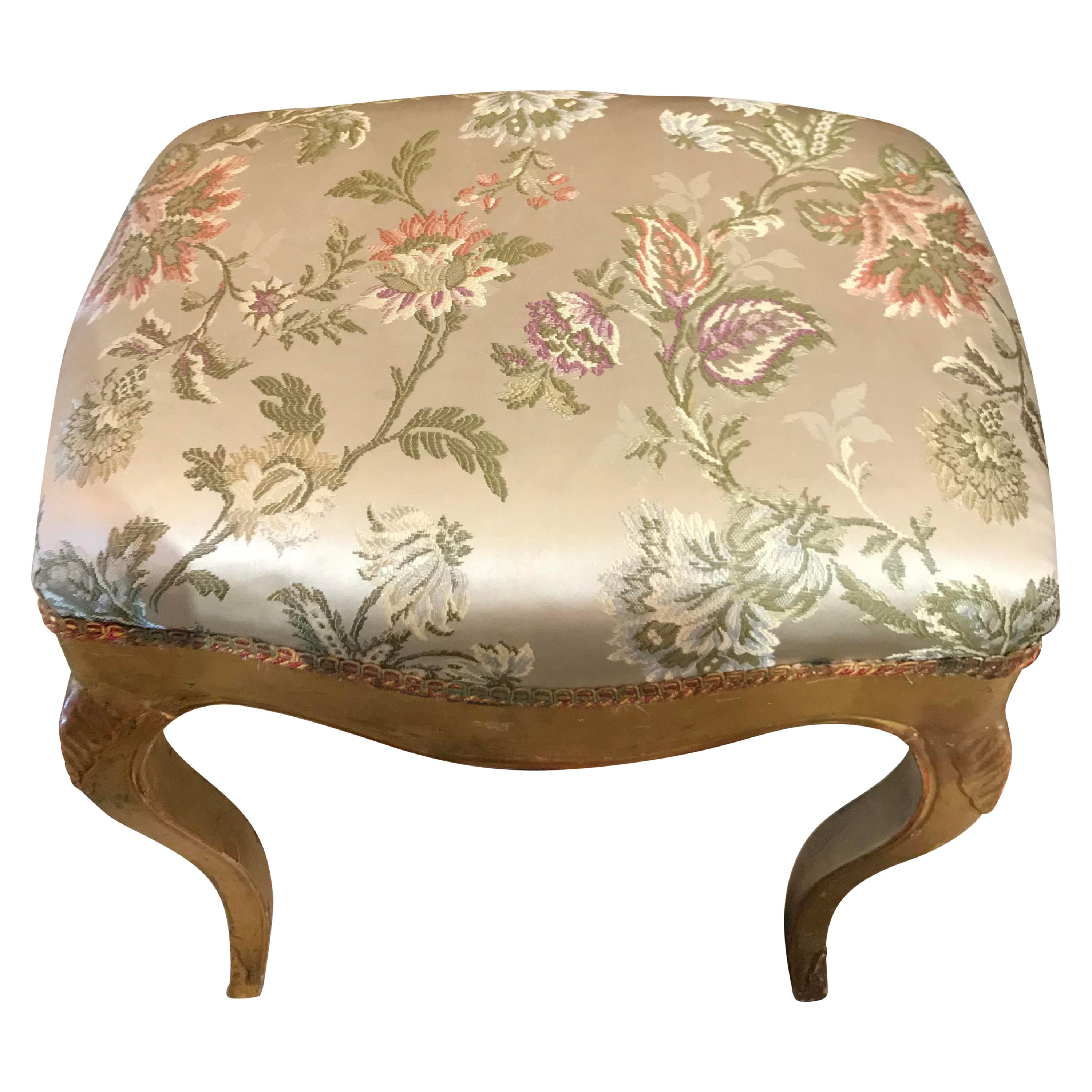 French 19th Century Giltwood Stool with Silk Upholstery