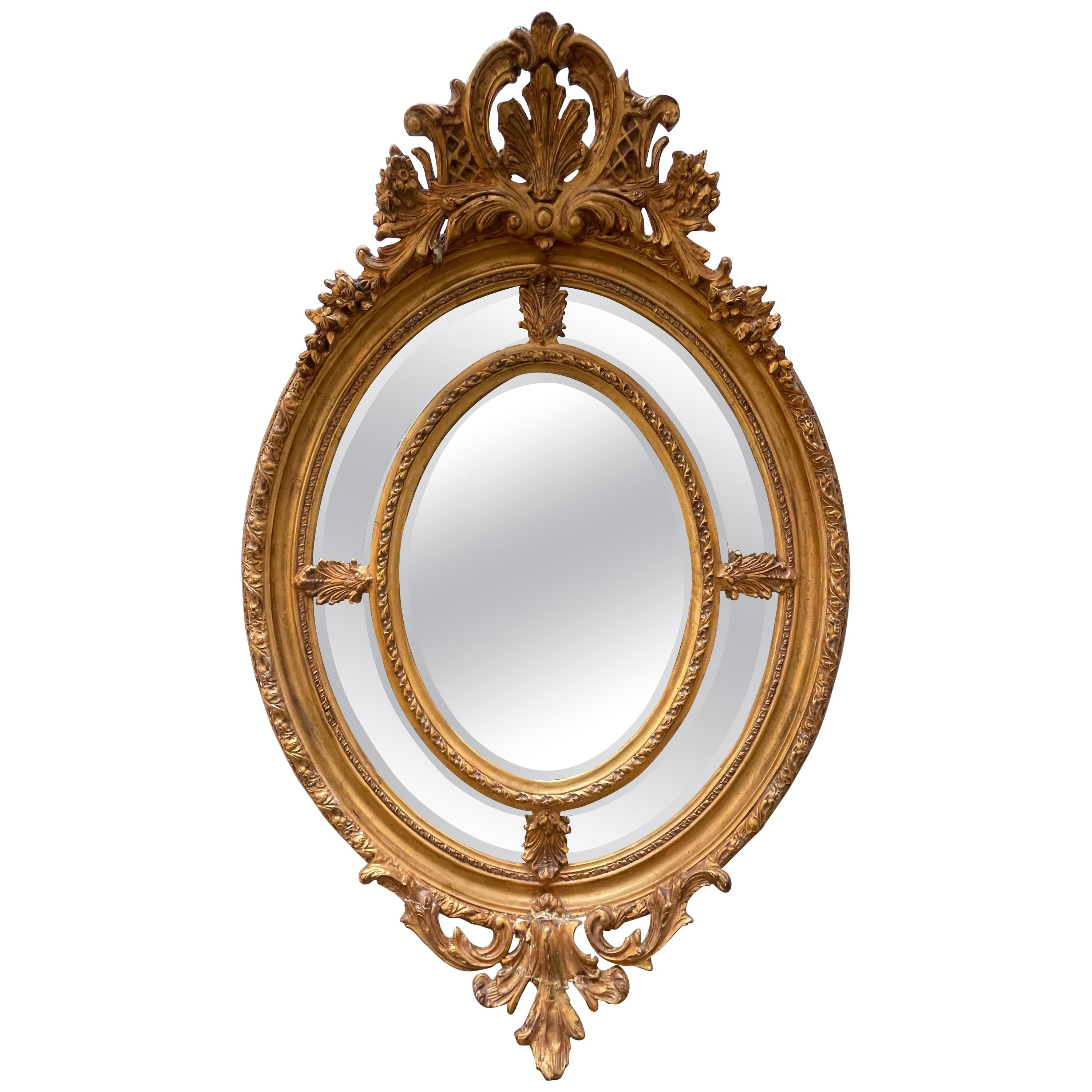 French 19th Century Giltwood Double Mirror