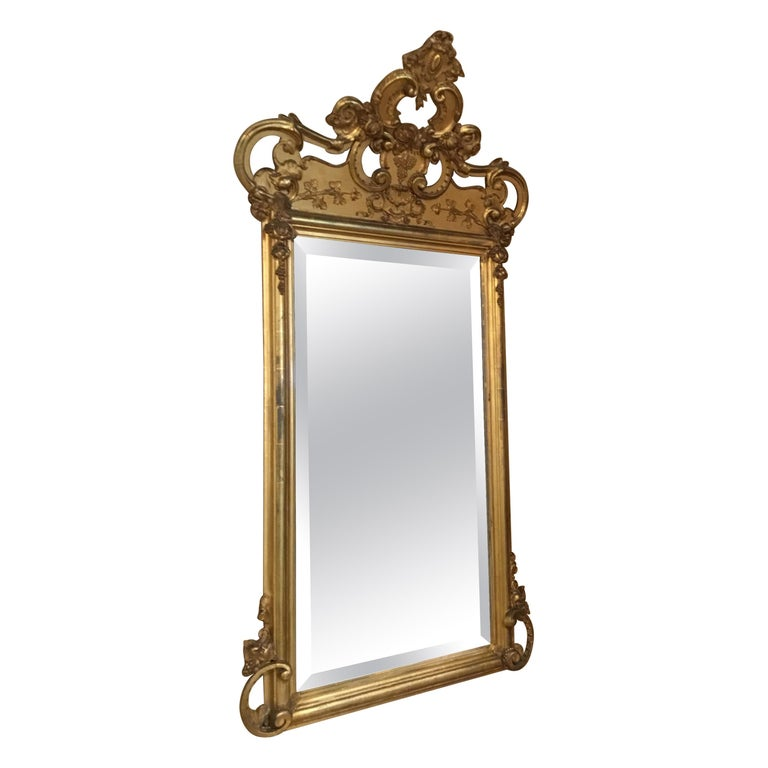 French 19th Century Giltwood Framed Mirror with Beveled Plate For Sale