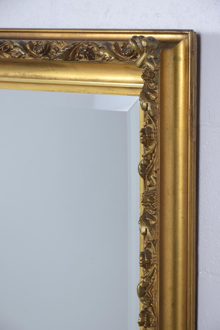 Silvered 19th Century Napoleon III Giltwood Mirror For Sale