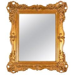 19th Century French Giltwood Mirror Louis Philippe Original Mercury Glass