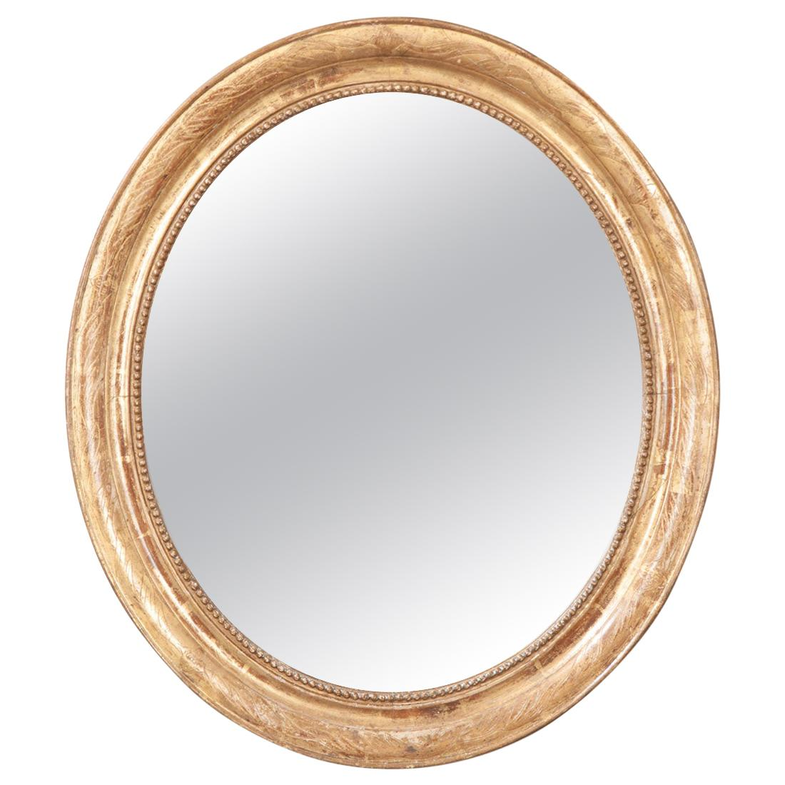 French 19th Century Giltwood Oval Mirror
