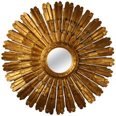 French 19th Century Giltwood Sunburst Mirror