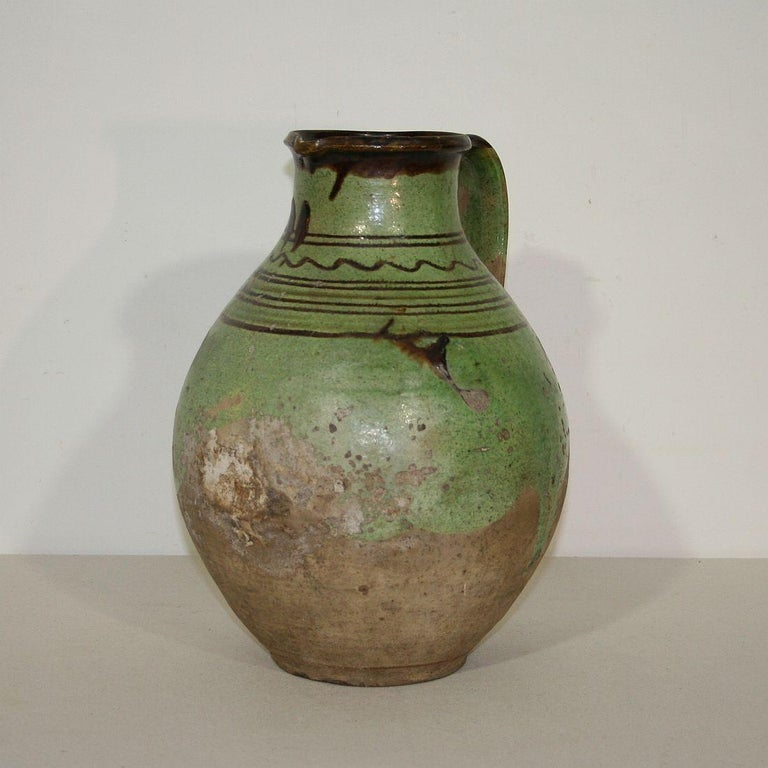 Beautiful piece of pottery from the Alsace. Great color France, Alsace circa 1800-1850. Weathered.