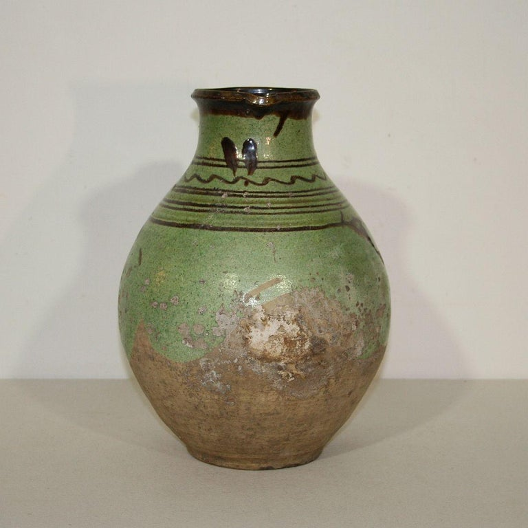 French Provincial French, 19th Century Glazed Earthenware Jug For Sale