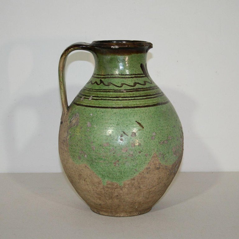 Hand-Crafted French, 19th Century Glazed Earthenware Jug For Sale