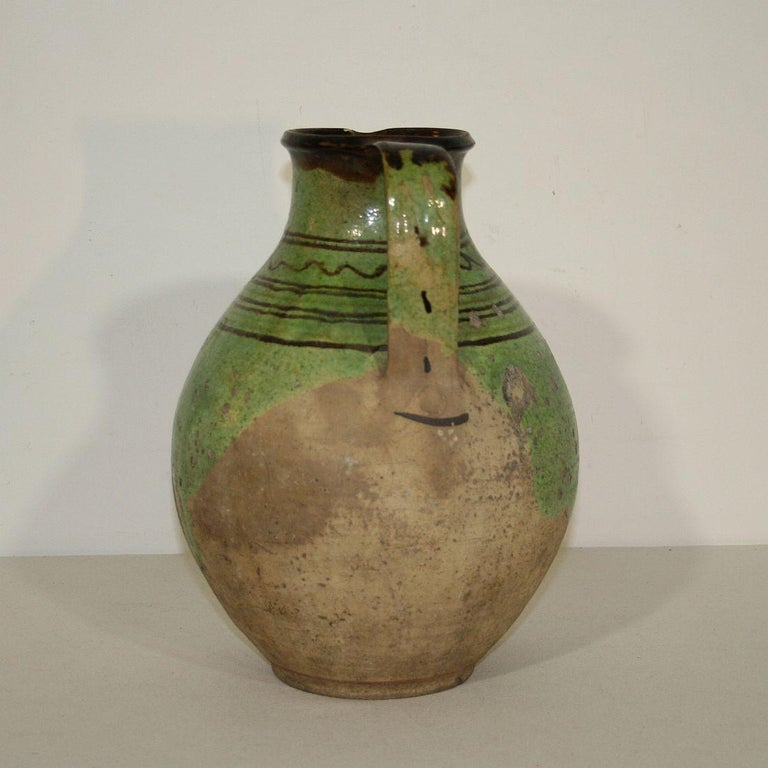 French, 19th Century Glazed Earthenware Jug For Sale 1