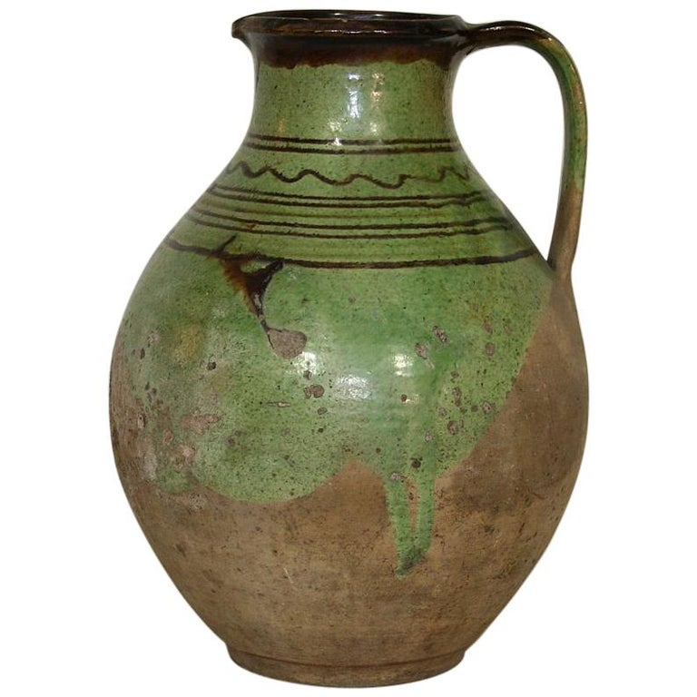 French, 19th Century Glazed Earthenware Jug For Sale