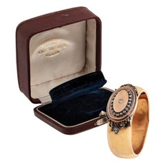 French 19th Century Gold and Diamond Bangle Bracelet