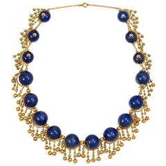 French 19th Century Gold and Lapis Bead Fringe Design Necklace