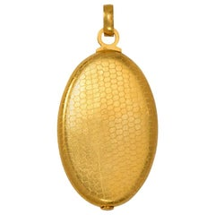 French 19th Century Gold Covered Mirror Pendant