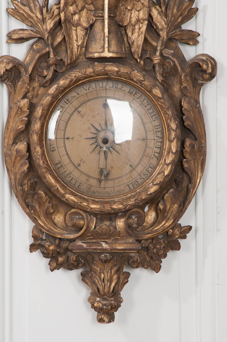 Hand-Carved French 19th Century Gold Gilt Barometer For Sale