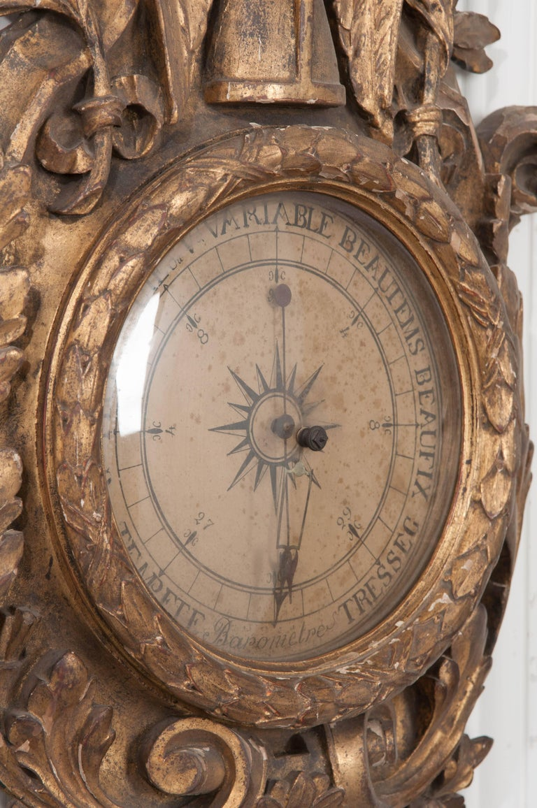 Hardwood French 19th Century Gold Gilt Barometer For Sale