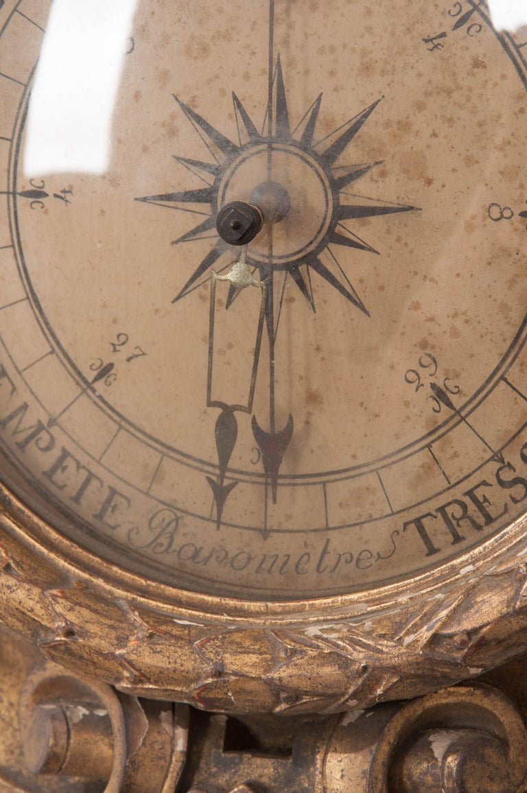 French 19th Century Gold Gilt Barometer For Sale 1