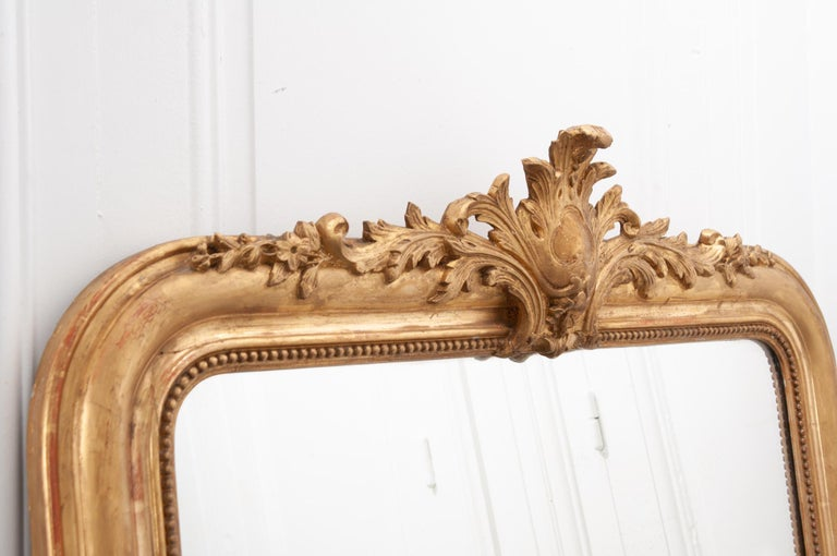 French 19th Century Gold Gilt Louis Philippe Mirror with Crest For Sale 1