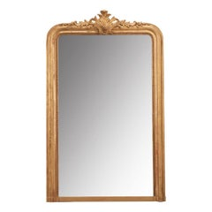 French 19th Century Gold Gilt Louis Philippe Mirror with Crest