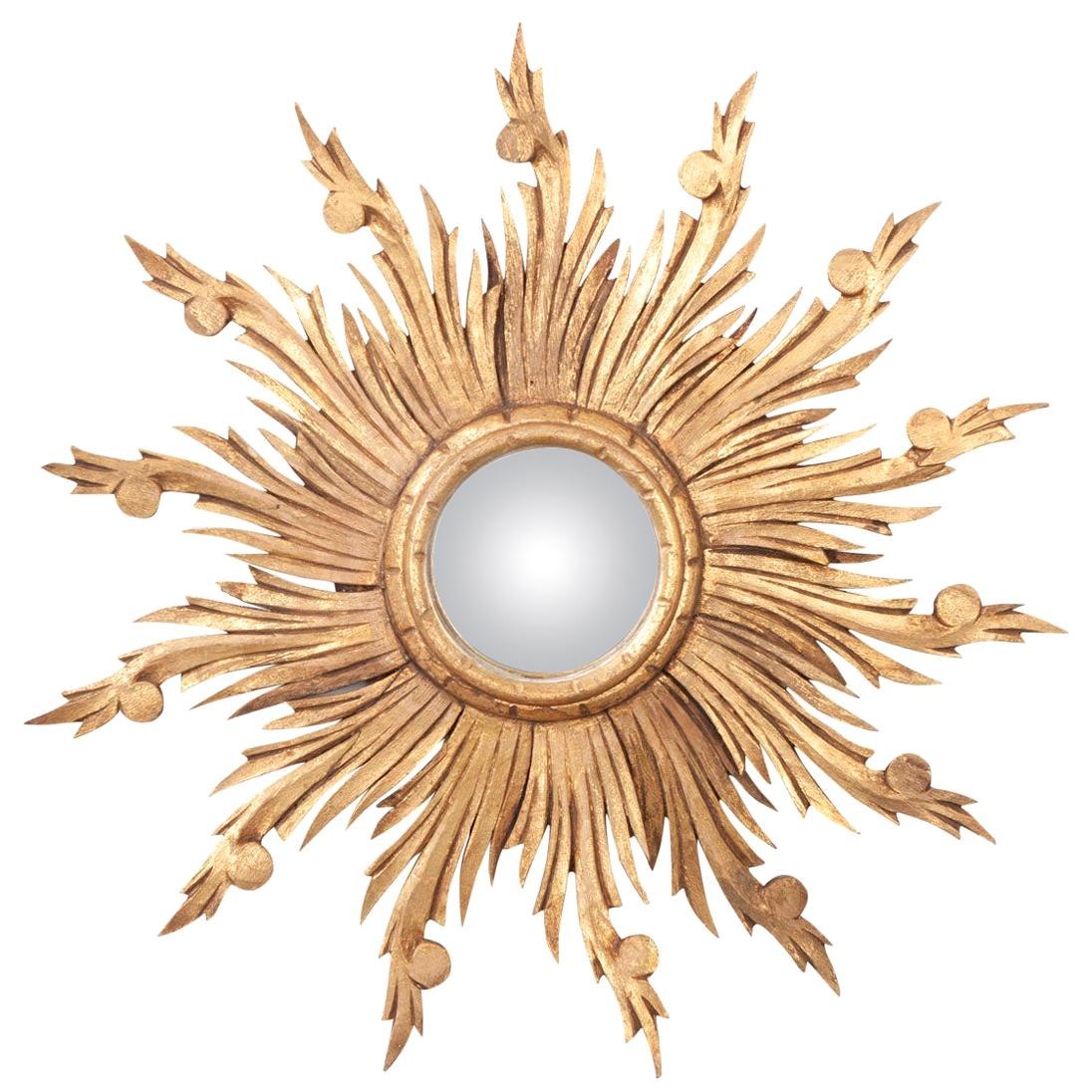 French 19th Century Gold Gilt Sunburst Convex Mirror