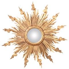 French 19th Century Gold Gilt Sunburst Convex Mirror