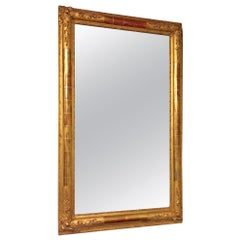 French 19th Century Gold-Leaf and Hand Carved Mirror Frame with Original Glass