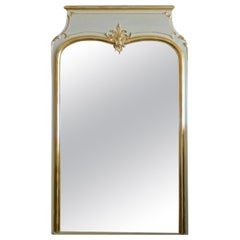 French 19th Century Gold-Leaf Painted Trumeau Mirror with Original Mirror Glass