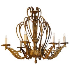 French 19th Century Gold Painted Bronze Chandelier with Eight Lights