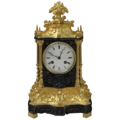 French 19th Century Gothic Revival Bronze Gilt Mantel Clock