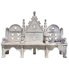 French 19th Century Gothic Style 3-Seat Carved Marble Bench with Armorial Motif