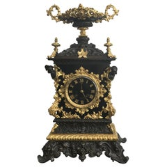 French 19th Century Gothic Style Bronze and Slate Mantel Clock